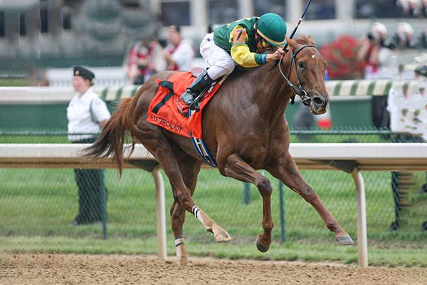 HYSTERICALADY in one of her two G1 Humana Distaff wins at Churchill Downs. (CD Photo)