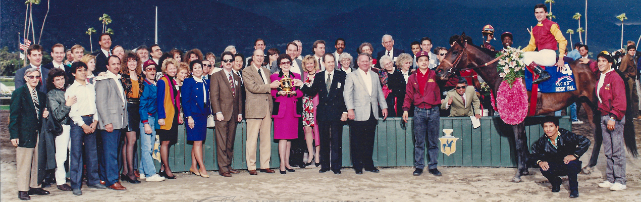 Santa Anita Handicap winner's circle presentation for BEST PAL owned by Golden Eagle Farm of John and Betty Mabee